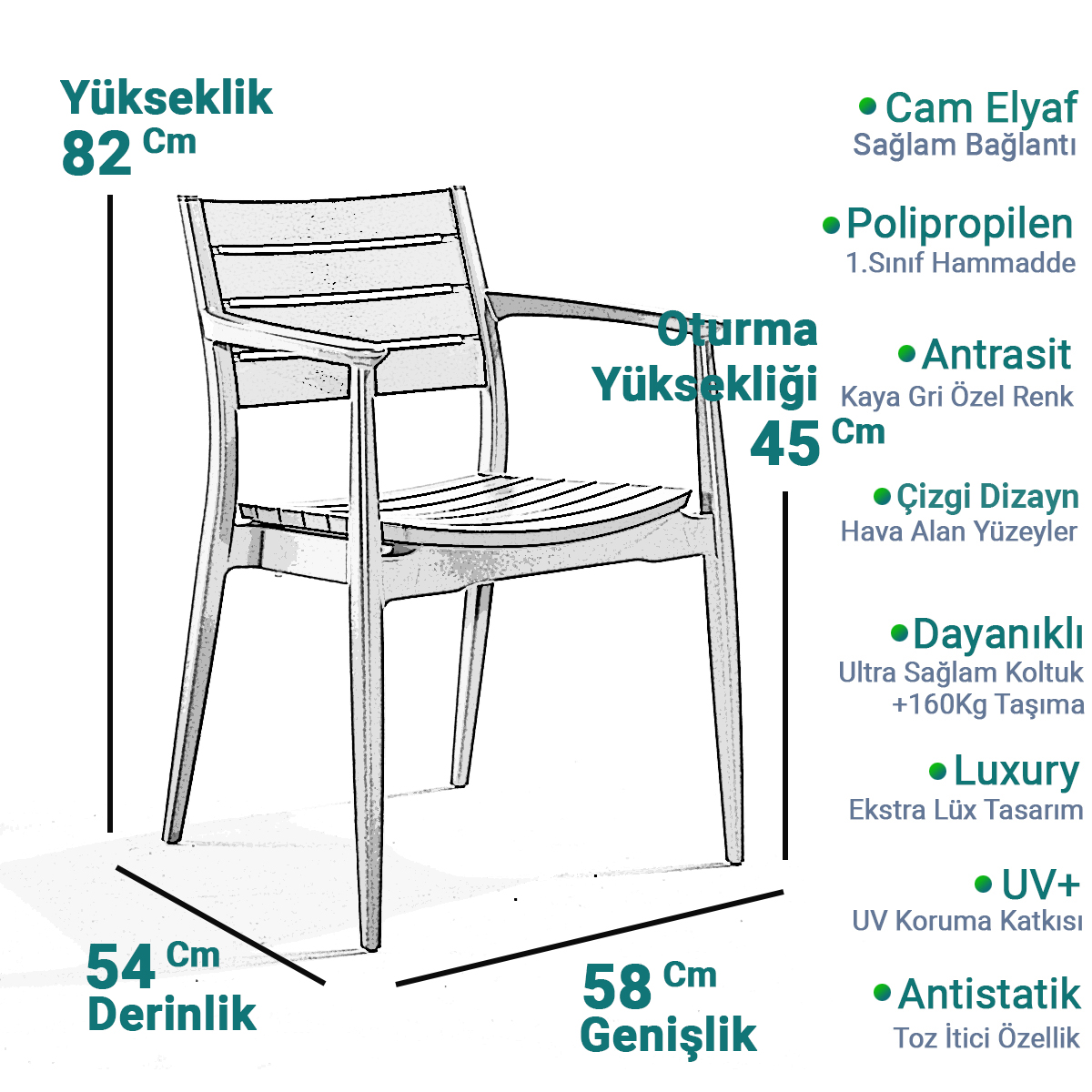 Novussi Regnum Antrasit 90x150Cm Camlı Bahçe Balkon Masa Takımı Kaya Gri